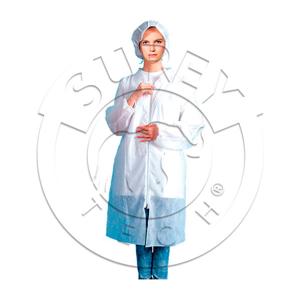 Polypropylene work coat with zip - thick