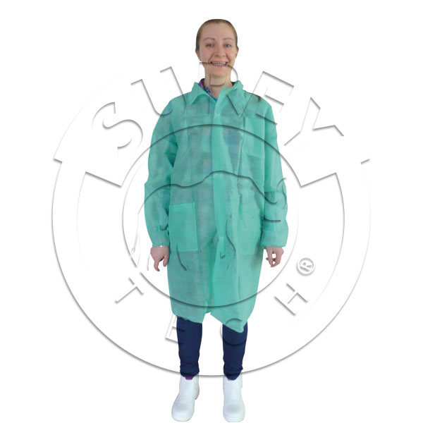Polypropylene velcro work coat with pockets - thick