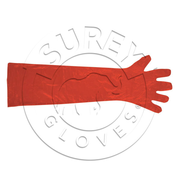 Polyethylene glove with cuff transparent red