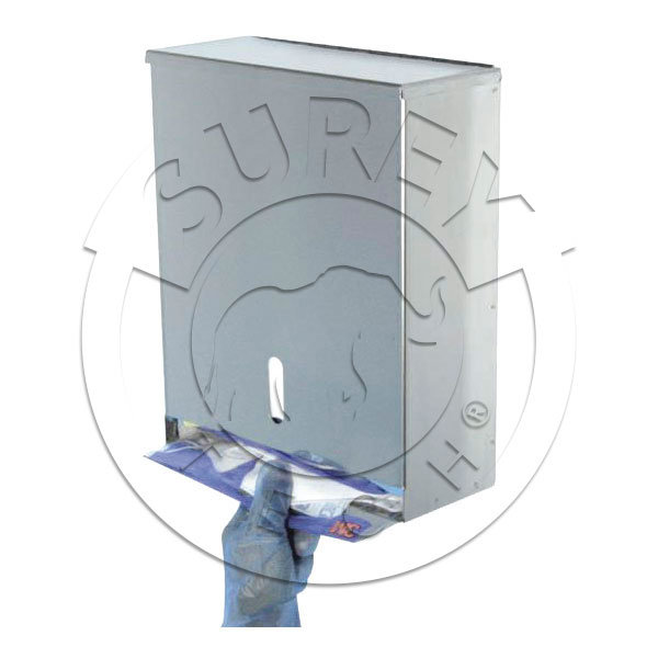 Particle folded mask dispenser stainless steel